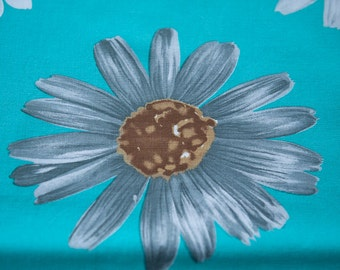 Big Gray Daisies- Vintage Fabric 60s 70s New Old Stock Turquoise
