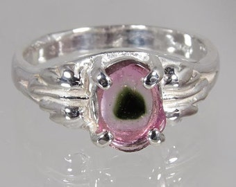Crystal of Natural Watermelon Multi Color Tourmaline .94 carat Hand Set in Sterling Ring - Fast Free Shipping