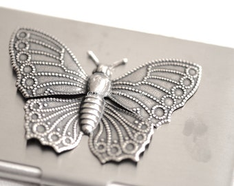 Butterfly Stainless Steel Business Card Case - Auspicious Love Creativity Long Life Feng Shui Symbol - Insurance Included