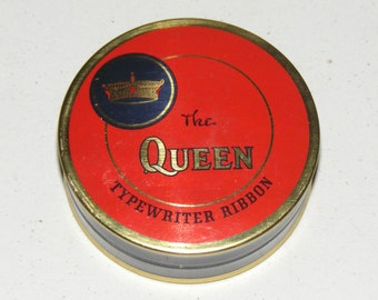 Vintage The Queen Typewriter Ribbon Tin Crown Litho Ribbon and Advertising still inside