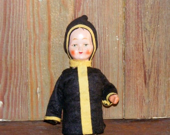Antique Composition Paper Mache Doll Candy Container
