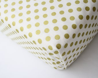Gold Dot Fitted Crib Sheet, Changing Pad Cover or Mini Crib Sheet  - Ready to Ship