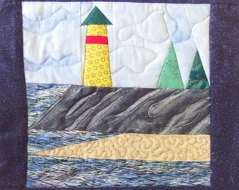 Lighthouse Quilted Wall Hanging; Blue, Gray, Yellow Quilted Picture