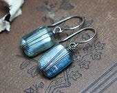 Kyanite Earrings Silver Wire Wrapped Blue Earrings Gemstone Earrings Luxe Rustic Jewelry