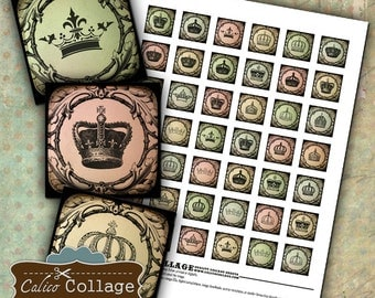 Crowns Digital Collage Sheet 1x1 Inch Inchies Printable Images Pendant Images Digital Download Decoupage Paper Images for Pendants