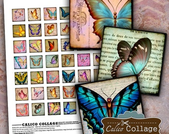 Spring Butterflies, Printable Ephemera, Collage Sheet, 1x1 Inch Squares, Butterfly Images, Digital Images, Instant Download