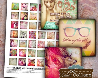 Boho Chic Digital Collage Sheet Bohemian Images for Jewelry, Scrapbooking, Decoupage, Pendants, Magnets, Resin, Wood Tile, Bezel Settings