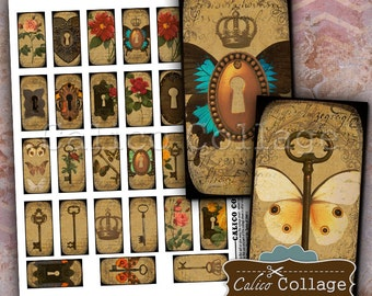 Lock and Key Digital Collage Sheet 1x2 Domino Images for Domino Pendants, Decoupage, Journalling, Paper Crafts, Resin, Magnets, Steampunk