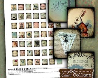 Eclectic Dream, Scrabble Tile Size, Collage Sheet, Printable Sheet, Digital Collage, Printable Ephemera, Scrabble Size, Scrabble Images