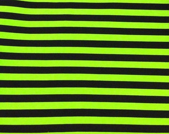 Knit fabric monster green with black stripes 1/2""