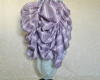 Bank Holiday Flash Sale Purple Green Candy Stripe Tabitha Midi Length Tie Bustle Skirt-One Size Fits All