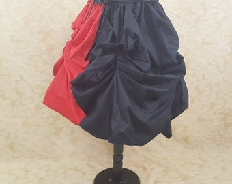 Harley Quinn Queen Of Hearts Red And Black Midi Length Tie On Bustle Skirt-One Size Fits All
