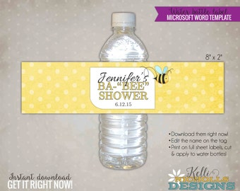 """Bumble Bee Baby Shower Water Bottle Label Template, Ba """"BEE"""" Shower, Bee Shower Party Decoration, Instant Download #S104"""