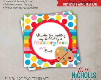 Art Birthday Party Custom Favor Tag, Painting Party Decoration, Printable Instant Download #B102