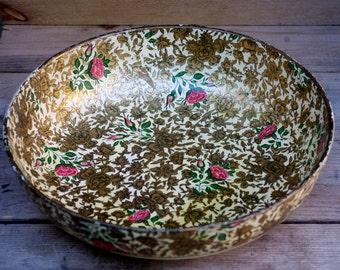 Vintage Paper Mache Highmount Bowl Floral Design Tole Made in Japan