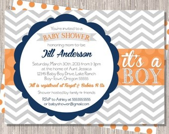 Baby Shower Invitation in Gray Chevron Stripe with Orange & Navy, 5x7 printable or printed