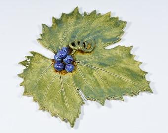 Grape Leaf, Ceramic Tray, Green Tray, Trivet Tray