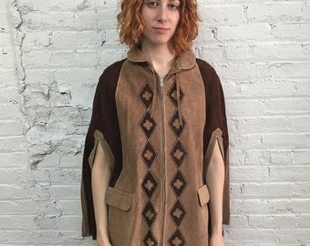 ON SALE // vintage 70s suede poncho / brown and tan diamond pattern leather cape