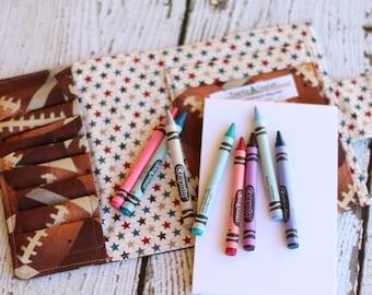 Football Crayon Wallet. Crayon Roll. Crayon Tote. Art Kit. Drawing Kit. Travel Toy. Crayon Case. Child Activity Kit. Party Favor