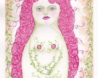 Print of original watercolor painting titled Natural Woman