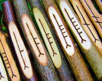 Ogham set with 20 different corresponding woods, Druid gift idea, Carved wood ogham staves, Wiccan ogham, Divination set, Wicca ogham, D060