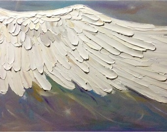 Angel Wing Painting  acrylic and oil paint on stretched canvas