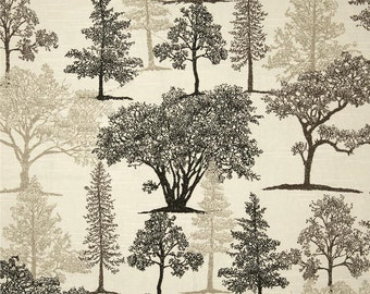 "Rustic Toile Curtain Panels, Cabin/Lodge Drapes, Tree Toile Window Curtains, Nature Inspired Home Decor, One Pair Rod-Pocket 50""W"