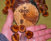Yew Wood Rune Set and Leather Casting Cup/Pouch
