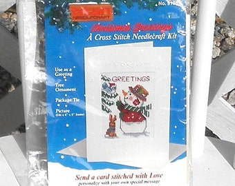 Snowman Cross Stitch Needlecraft Kit Christmas Greetings Vintage