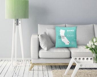 Newlywed Christmas Gift, Latitude Longitude Pillow, State Love Pillow, Home Decor Pillow, Home Decorations, Newlywed Gift / H-L07-PW HH1