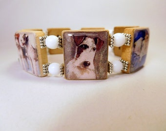 FOX TERRIER Scrabble Bracelet / Upcycled Handmade Jewelry / Dog Lover Gift / Wire Fox - 1