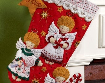 So SWEET Bucilla Felt Christmas Stocking Kit Red Hair Angels With Holiday Candy