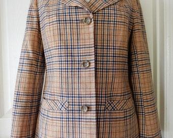 Pendleton Vintage Plaid Wool Suit Jacket Skirt Size 12 Amber Gold Navy Cream Rippe's
