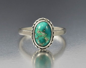 Vintage Sterling Silver Turquoise Ring, Chinese Export Silver Ring, Stacking Boho Ring, Size 7.5 Natural Gemstone Ring