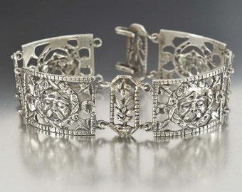 Antique Peruzzi Bracelet, Victorian Bracelet, Silver Bracelet, Italian Jewelry, 1800s Antique Jewelry, Coppini Bacchus Gothic Jewelry