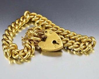 Padlock Heart Victorian Curb Chain Bracelet, Rolled Gold Charm Bracelet, European Antique Jewelry, Antique Bracelet, Gold Bracelet