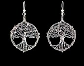 Custom Listing for Marie - Circle of Life Tree Earrings with 3.5 mm Laboratory Grown Rubies Set in Branches with Lever Back Ear Wires