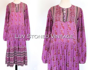 Vintage 70s Indian Tent Tunic Boho Hippie Cotton Gauze Gypsy India Festival Midi Dress | SM | 1137.10.13.15