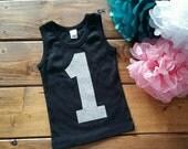 1st Birthday Shirt, Birthday Girl Shirt, Number One Birthday, 1st Birthday Party, Birthday Shirt, Black and Silver, Glitter Birthday Shirt