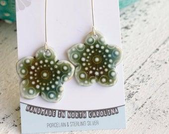 long dangle flower earrings in olive green