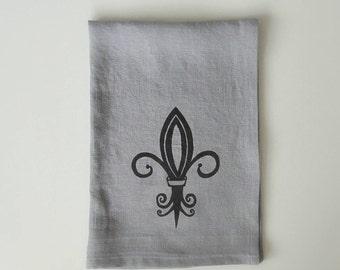 Linen Tea Towel - Fleur de lis design - Choose your fabric and ink color