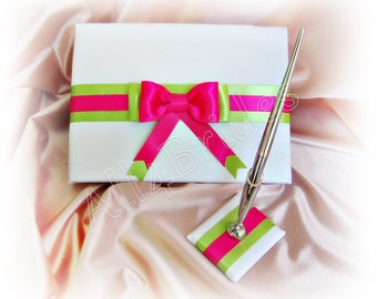 Wedding guest book hot pink and lime green, guest book and pen set.
