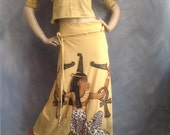Maat long skirt and top size medium Kemet art to wear one of a kind