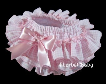 All Around Ruffle in Pink Gingham Ruffle Diaper Cover Bloomers with Bow