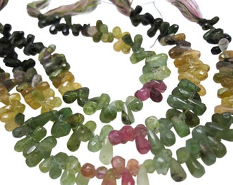 Watermelon Tourmaline Briolettes Beads, Faceted Teardrops Briolettes, SKU 4472A