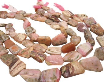 Rhodochrosite Beads, Rhodocrosite Beads, Faceted Nuggets, SKU 4117A