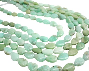 Chrysoprase beads, Chrysoprase, Pear Briolettes, Smooth Top to Bottom Drilled Pear Shape, SKU 3950A