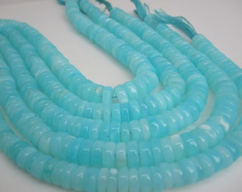 Blue Peruvian Opal Beads, Peruvian Opal Beads, Blue Opal Beads, Rondelles, 8mm to 9mm, Aqua Gemstone, Wholesale Opal, SKU 4784