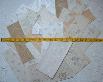 Vintage Shabby Cottage Chic Wallpaper Scrap Pack  27 Pc. Lot of Wallpaper Scraps Scrapbooking French Chic Shabby Papers FREE SHIPPING