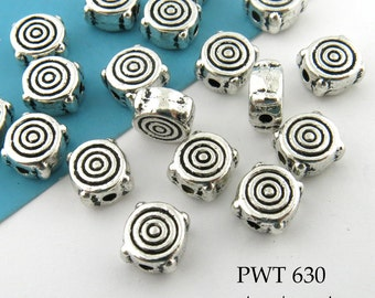 6mm Small Pewter Thick Spiral Beads, Disk Antique Silver (PWT 630) 20 pcs BlueEchoBeads